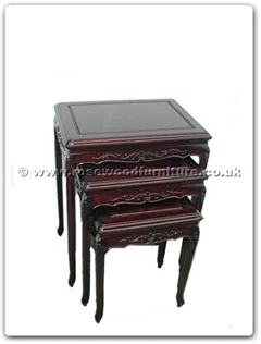 Rosewood Furniture Range  - ffrqcnest - Queen ann legs nest table with carved set of 3
