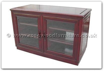Rosewood Furniture Range  - ffrtvcab - Stereo cabinet with 2 glass doors and casters