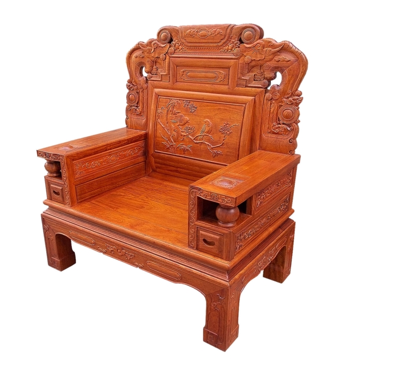 Rosewood Furniture Range  - ffsofaab - arm chair sofa w/f&b carved