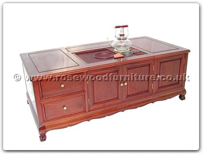 Rosewood Furniture Range  - fftddtable - Tea Table Tiger Legs With 2 Drawers and 3 Doors