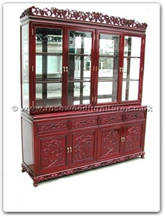 Rosewood Furniture Range  - fftg72hut - Buffet grape design tiger legs with top (with spot light  and  mirror back)