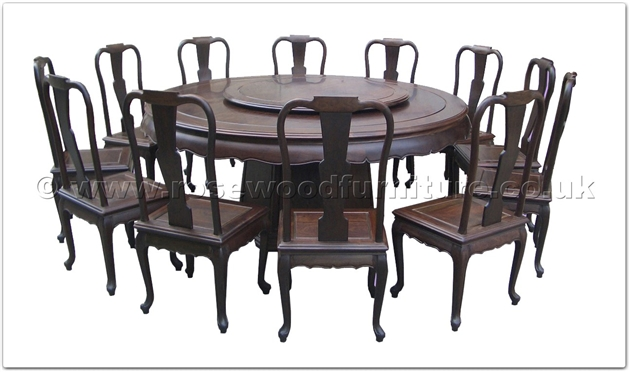 Chinese Blackwood Round Dining Table Curve Style Apron 12 Chairs Pedestal Legs 42 Inch Lazy Susan Ff18287bwdin