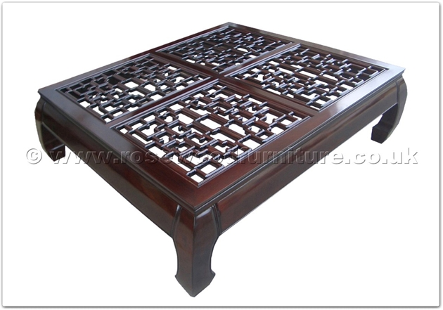 Rosewood Curved Legs Rectangular Coffee Table With Open Key Design Top Ff24981inv12