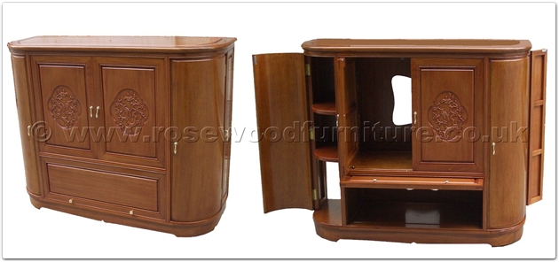 Rosewood Round Corner T V Cabinet Plain Design Flower And Bird Carved Doors Ff38e39tv