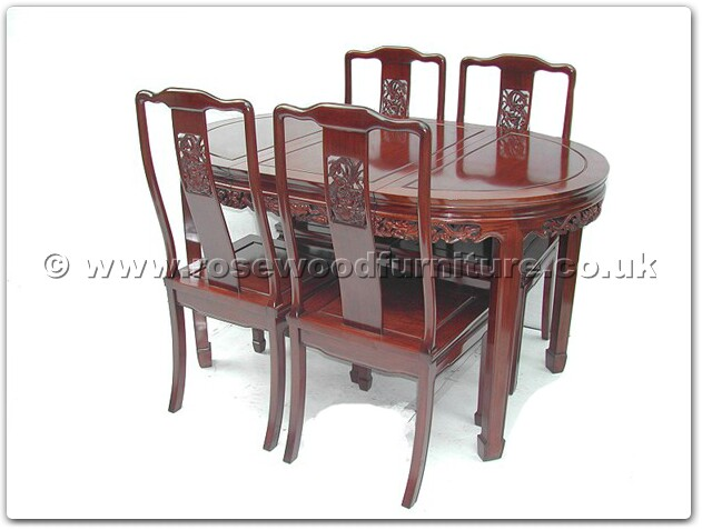 Rosewood Oval dining table dragon design with 4 chairs