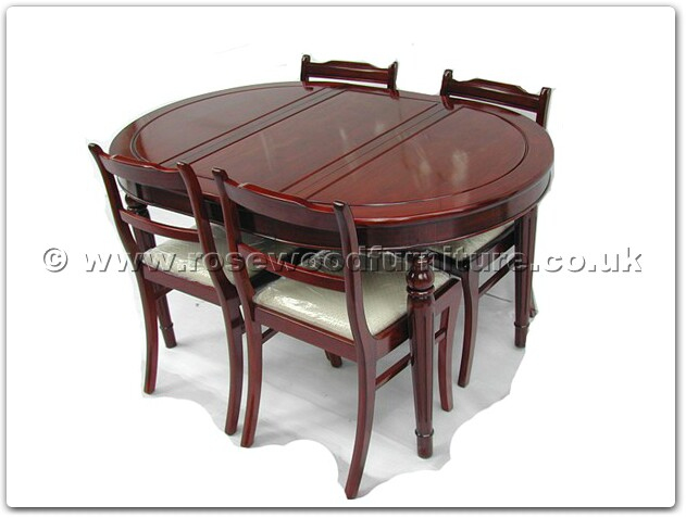 Rosewood Round Legs Oval Dining Table With 4 Low Back Chairs Ff7301x