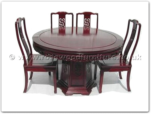 Rosewood Round Dining Table Dragon Design With 6 Chairs FF7307D