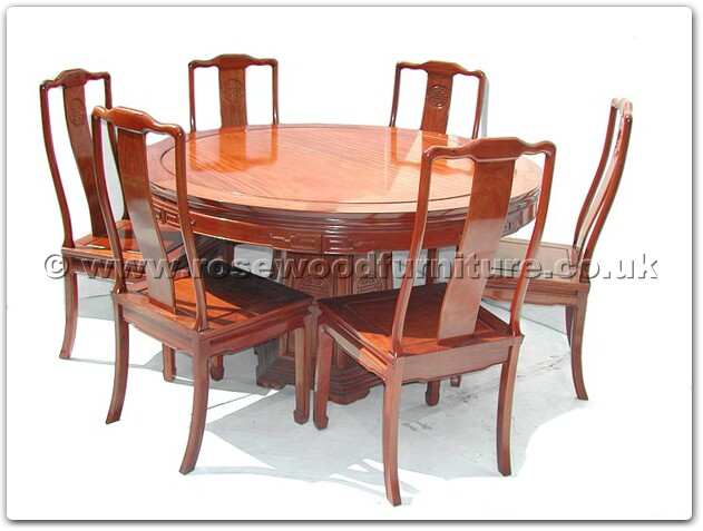 Rosewood Round Dining Table Longlife Design With 6 Chairs FF7307L