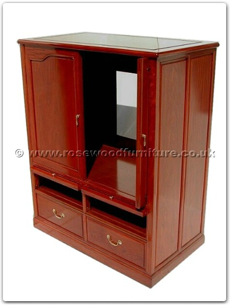Rosewood T V Cabinet Open And Slide Doors With Drawers Ff7438pb