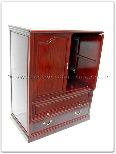 Rosewood T V Cabinet Open And Slide Doors With Drawers Ff7438ps