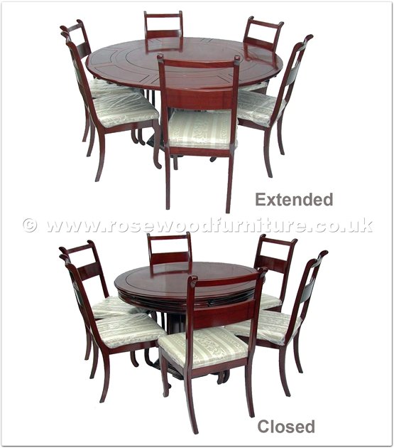 Rosewood Extendable Round Dining Table With 6 Chairs FF7607E