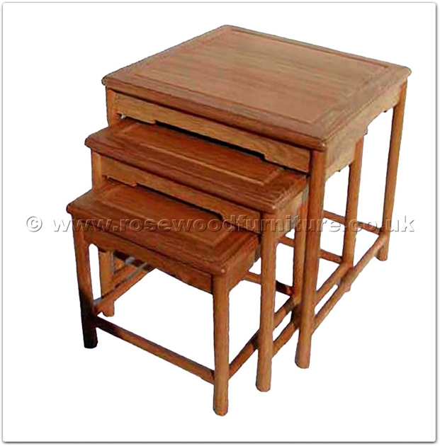 Rosewood Ash Wood Ming Style Nest Of 3 Table Ffawm3nest