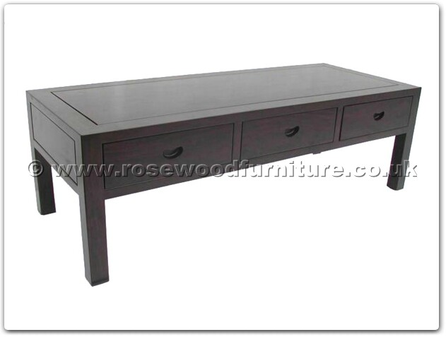 Rosewood Black Wood Coffee Table With 3 Drawers Ffbwcoffee