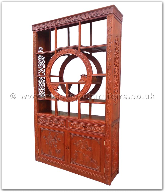 Rosewood Curio cabinet full carved with 2 doors and 2