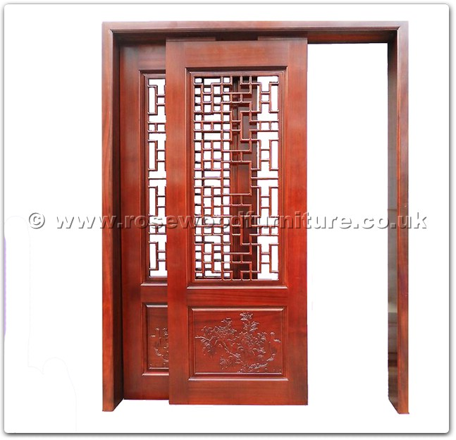 Rosewood sliding door peony carved with open key design for Door key design