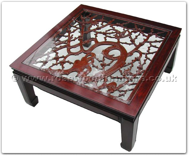 Rosewood Bevel Glass Top Coffee Table With Open F And B Carved Ffobcof