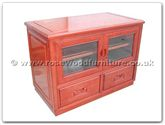 "Rosewood Furniture - ff114r8tv -  T.v. cabinet plain design with 2 wooden handle drawers  and  2 wooden handle doors with caster - 36"" x 20"" x 26"""