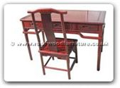 "Chinese Furniture - ff116r27md -  Ming style desk with 3 drawers plus chair - 48"" x 24"" x 30"""