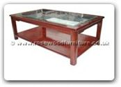 "Chinese Furniture - ff121r29mcof -  Ming style bevel glass top coffee table - 50"" x 30"" x 18"""