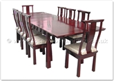 "Rosewood Furniture - ff129r1din -  Shinto style dining table with 8 side chairs (with fixed cushions) - 115"" x 44"" x 30"""