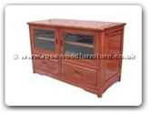 "Chinese Furniture - ff130r6mtv -  Ming style t.v. cabinet with 2 drawers  and  2 glass doors - 42"" x 20"" x 26.5"""