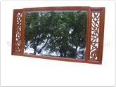 "Chinese Furniture - ff138r24mir -  Wooden frame bevel mirror flower and bird design at sides - 48"" x 27"" x 1"""