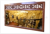 "Chinese Furniture - ff156r17mir -  Wooden frame bevel mirror key and round longlife design - 42"" x 1"" x 32"""