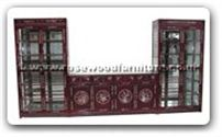 "Chinese Furniture - ff15g15unit -  Wall unit with m.o.p. (set of 3) - 152"" x 19"" x 78"""