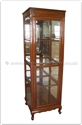 "Chinese Furniture - ff164r21gls -  Queen ann legs glass cabinet with spot light and mirror back - 24"" x 24"" x 75"""
