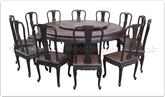 "Rosewood Furniture - ff18287bwdin -  Blackwood round dining table curve style apron - 12 chairs - pedestal legs -42 inch lazy susan - 72"" x 72"" x 30"""