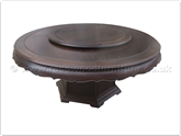 "Rosewood Furniture - ff18287bwtab -  Blackwood round dining table curve style apron - pedestal legs -  42 inch lazy susan - 72"" x 72"" x 30"""