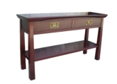 "Chinese Furniture - ff200r2ser -  shinto style serving table w/2 drawers & bottom shelf - 48"" x 14"" x 28"""
