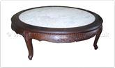 "Chinese Furniture - ff24984cof -  Queen ann legs round coffee table flower carved w/marble top  - 60"" x 60"" x 18"""