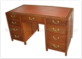 "Rosewood Furniture - ff34f27de -  Leather top desk - 8 drawers plain design - 54"" x 24"" x 29"""