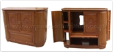 "Rosewood Furniture - ff38e39tv -  Round corner t.v. cabinet plain design flower and bird  carved doors - 55"" x 19"" x 42"""