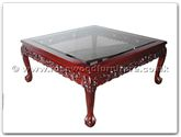 "Chinese Furniture - ff5h4cof -  Bevel glass coffee table dragon design tiger legs - 39.5"" x 39.5"" x 18"""