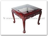 "Rosewood Furniture - ff5h7end -  Bevel glass end table dragon design tiger legs - 27.5"" x 27.5"" x 23.5"""