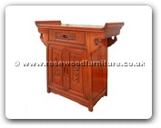 "Chinese Furniture - ff7031b -  Altar cabinet with half square flower and bird carved - 28"" x 14"" x 28"""
