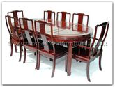 "Rosewood Furniture - ff7055p -  Oval dining table plain design with 2+6 chairs - 80"" x 44"" x 30"""