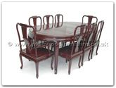"Rosewood Furniture - ff7055q -  Queen ann legs dining table with 2+6 chairs - 82"" x 46"" x 30"""