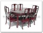"Rosewood Furniture - ff7302d -  Oval dining table dragon design with 2+4 chairs - 62"" x 44"" x 30"""