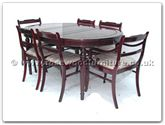 "Rosewood Furniture - ff7302x -  Round legs oval dining table with 2+4 low back chairs - 62"" x 44"" x 30"""