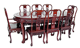 "Rosewood Furniture - ff7304 -  Oval dining table dragon design tiger legs with 2+6 chairs - 82"" x 46"" x 30"""