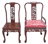 "Chinese Furniture - ff7304carmchair -  Dining arm chair dragon design tiger legs excluding cushion - 22"" x 19"" x 40"""