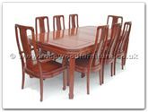 "Rosewood Furniture - ff7306h -  Round corner dining table with 2+6 high back chairs - 80"" x 44"" x 30"""
