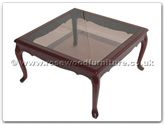 "Chinese Furniture - ff7327 -  Smoke glass top coffee table french design - 30"" x 30"" x 16"""