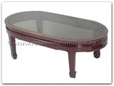 "Chinese Furniture - ff7328p -  Smoke Glass Top Oval Coffee Table Plain Design - 48"" x 26"" x 16"""