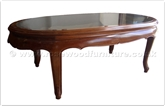 "Chinese Furniture - ff7328q -  Smoke glass top queen ann legs oval coffee table  - 48"" x 26"" x 16"""