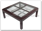 "Chinese Furniture - ff7329g -  4 section bevel glass top coffee table - 36"" x 36"" x 16"""