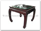 "Chinese Furniture - ff7331cg -  Bevel glass top curved legs end table - 24"" x 24"" x 22"""